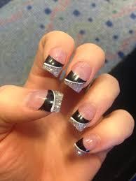 black and glitter acrylic nails beauty pinterest glitter
