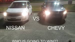 nissan versa fog lights nissan versa vs chevy cruze best race ever youtube