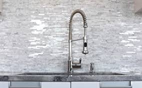 Bright Moen Faucets In Kitchen Modern With Carrera Marble - Marble backsplashes