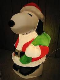 31 peanuts snoopy santa best blowmold light plastic outdoor