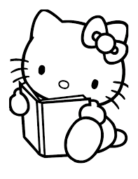 coloring pages kitty reading book coloring pages