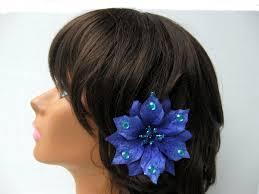 flower hair clip blue flower hair clip