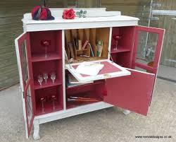 vintage writing desk bureau glass display cabinet bookcase