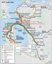 San Francisco Ca Map by San Francisco Bart System Map Railway Mapsof Net San Fran