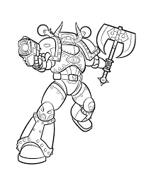 chaos marine lineart by blazbaros on deviantart