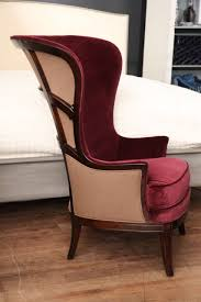 red velvet wing chair circa 1930 at 1stdibs