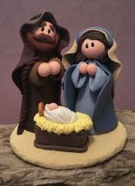 polymer clay miniature nativity wishing well workshop a család