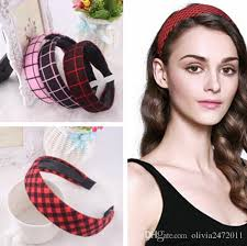 new korean style women lattice wide hair bands women