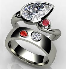 interlocking engagement ring wedding band pear birthstone engagement ring and wedding bands