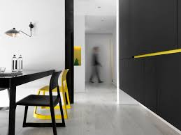 modern apartment with yellow accents