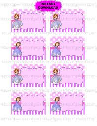 sofia tag princess printable digital