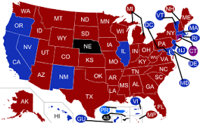 political us map states and blue states