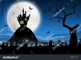 spooky cemetery clipart spooky halloween night foggy cemetery far stock illustration