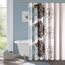 blue and brown shower curtain