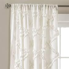 White Window Valance Ruffle Diamond Window Curtain Set Lush Decor Www Lushdecor Com