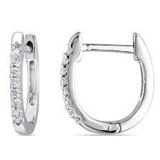white gold diamond hoop earrings miadora 10k white gold 1 10ct tdw diamond hoop earrings free