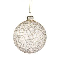 clear glass bauble with gold glitter crackle finish 80mm