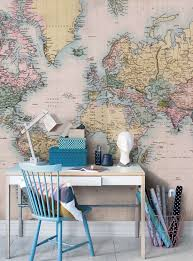 vintage world map wall mural for home office decoration with small vintage world map wall mural for home office decoration with small table design ideas