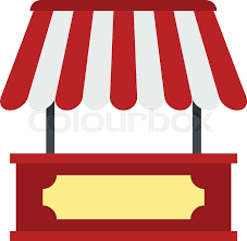 White Awning Market Stall With Red And White Awning Icon Flat Isolated On White