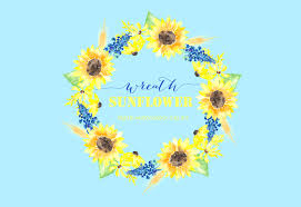 sunflower wreath sunflower wreath watercolor clipart graphics creative market