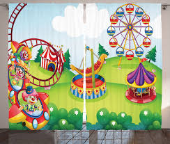 cartoon circus theme park carousel kids decor image print curtain