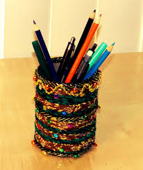 recycled pen stand made out of salt tin and old cloth youtube