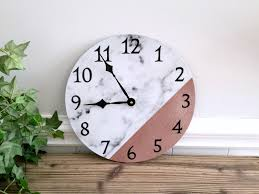 white faux marble print wall clock w rose gold upcycled 12