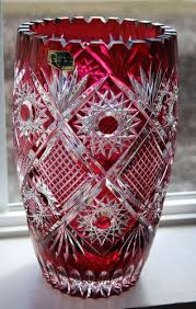 Vintage Waterford Cut Glass Crystal Vase Starburst Pattern Stunning Germany Cranberry Lead Cut To Clear Sawtooth Crystal Vase