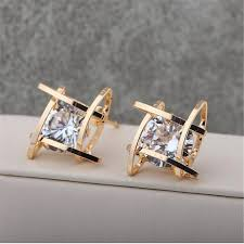 korean earings gold plated stud earrings for women 2017 korean new design