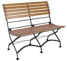 European Bistro Chair European 2 Seat Folding Wood Bench