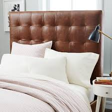 Tufted Leather Headboard Leather Grid Tufted Headboard West Elm