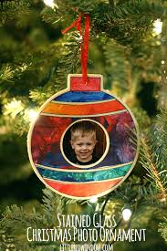 stained glass photo ornament window