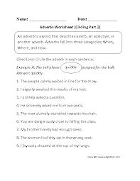 circling adverbs worksheet part 2 adverbs pinterest adverbs
