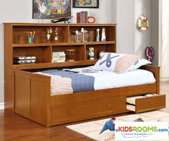 Captains Bed Twin Size Twin Size Bookcase Captains Daybed Pecan Allen House Kids