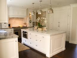 sophisticated double hanging lights over small kitchen island with