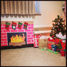 fireplace for the children all made out of construction paper