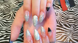 acrylic new set l silver u0026 black l prom nail design youtube