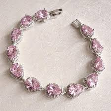 crystal bridal bracelet images Blush pink bridal bracelet pink teardrop cz crystal wedding jpg