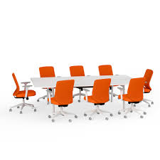 Conference Table With Chairs Ping Pong Conference Table 8 Mid Back Task Chairs Orange