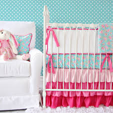 Pink And Aqua Crib Bedding Staggering Aqua And Pinking Beautiful Baby Lila Crib Blue
