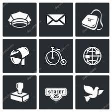 adresse bureau de poste vector set d icônes de bureau de poste postier lettre livraison