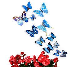 blue 12 pcs 3d butterfly wall stickers art decor decals rosegal com 12 pcs 3d butterfly wall stickers art decor decals