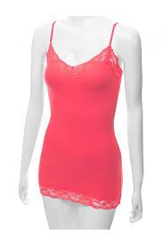 true coral color women adjustable spaghetti strap cami tank