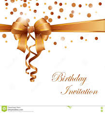 Free Download Birthday Invitation Card Birthday Invitation Card With Gold Ribbon Stock Vector Image
