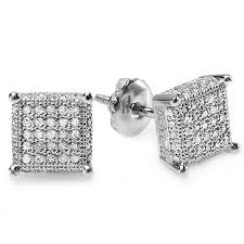 mens earring studs 0 50 carat ctw sterling silver white real diamond