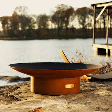 shop fire pit art 36 in w iron oxide patina steel wood burning