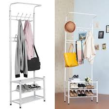 new19 hooks metal entryway hall tree storage white coat rack
