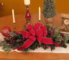 Christmas Table Decoration Red by Amazon Com Christmas Table Centerpiece Cr1025 Pine Holiday