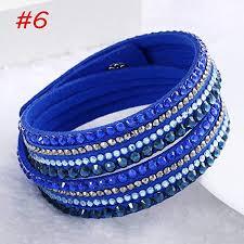 rhinestone leather wrap bracelet images Gguogoo women rhinestone punk multilayer wristband jpg