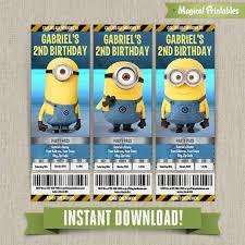 me minions birthday ticket invitations lab set instant